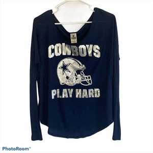 VS PINK Dallas Cowboys Metallic Long Sleeve Shirt
